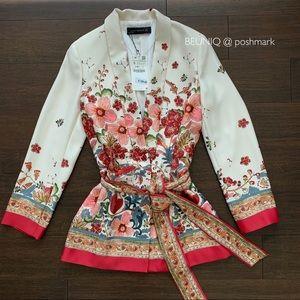 ZARA Ecru floral blazer